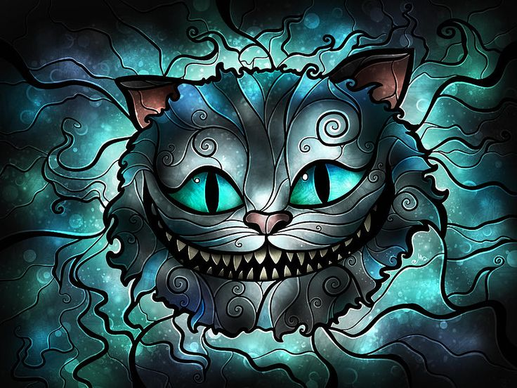 Tim Burton's Cheshire Cat stained glass style digital painting. So cool!
