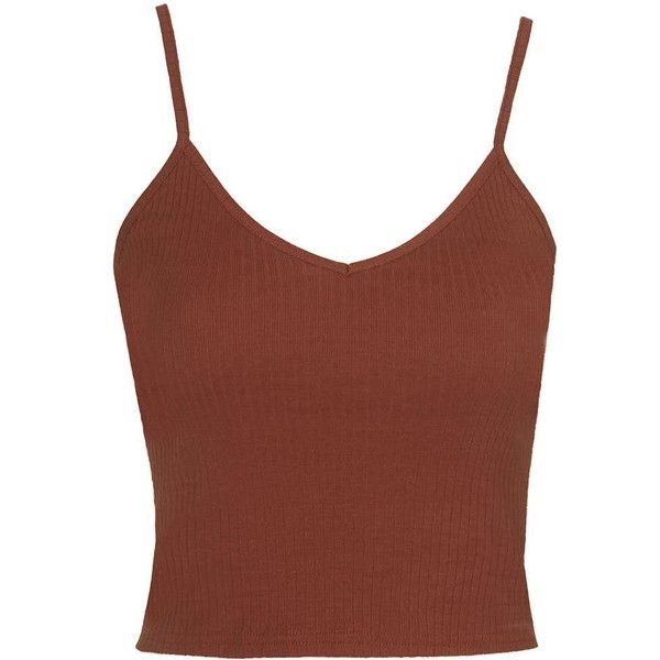 TOPSHOP Ribbed Cropped Cami found on Polyvore featuring tops, crop tops, shirts, tank tops, tanks, rust, ribbed crop top, brown cami, cami crop top and rib tank