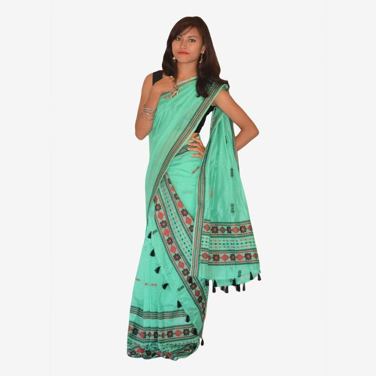 Bua Cotton Diamond phool Mekhela Chador Set with Blouse Piece______The finest Sea green color with the Black Diamond design flowers on this Mekhela Chador makes a classy looks in itself. This Mekhela Chador is very comfortable for the Hot summers.