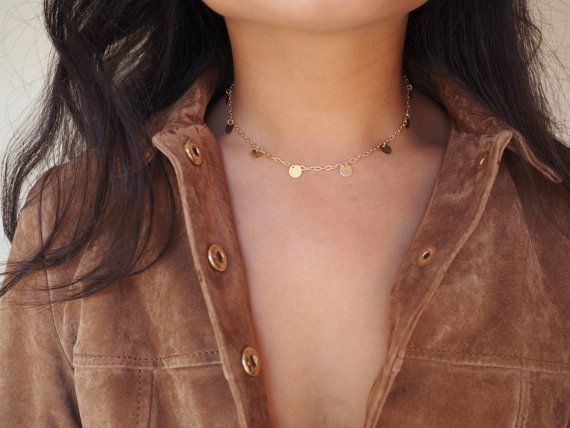14k Gold Coin Dainty Choker Necklace by DianaHoDesigns on Etsy