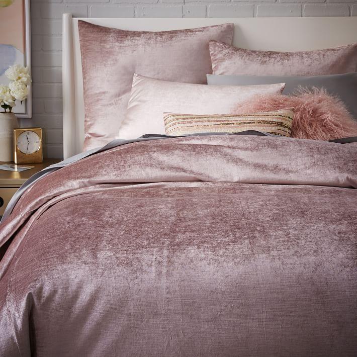 Washed Cotton Luster Velvet Duvet Cover + Shams - Dusty Blush