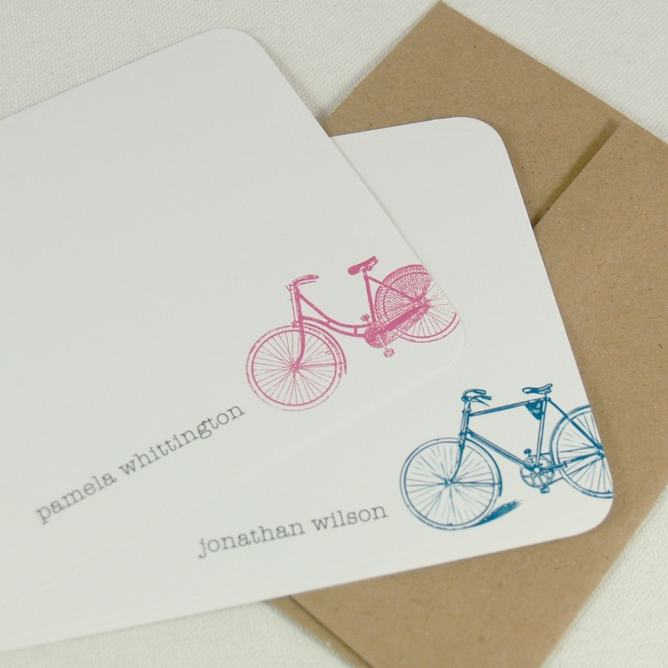 vintage bike personalized stationery set (12) CHOOSE color -personalized stationary flat note cards. $15.00, via Etsy.