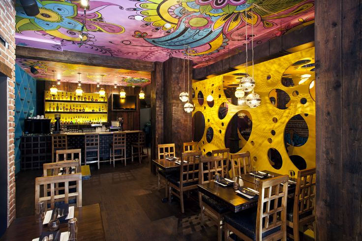 Interior design of the indian restaurant Rasoï located in Montreal, Canada. By jean de lessard, designers créatifs