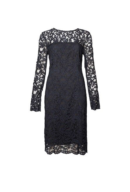 Fitted Long Sleeve Lace Dress Midnight/Black 1