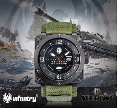 INFANTRY WOT-003. Роскошный бренд. Кварцевые, военные, спортивные часы, 30 м. - водонепроницаемые. World of Tanks .