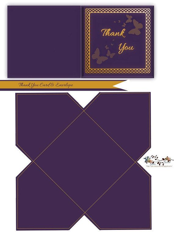 purple and gold thank you note card  u0026 envelope
