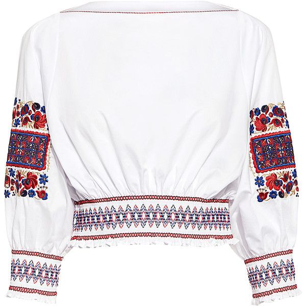 Tibi - Cora Embroidery Cropped Top (1,405 SAR) ❤ liked on Polyvore featuring tops, embroidered crop top, boho style tops, smock top, bohemian tops and boho tops