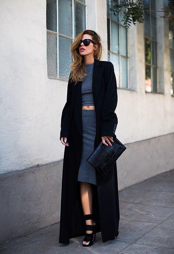 (Sunglasses - Celine, Top + Skirt Set - Barney's New York, Clutch - Givenchy,  Coat - Ann Demeulemeester, Sandals - Alaïa)