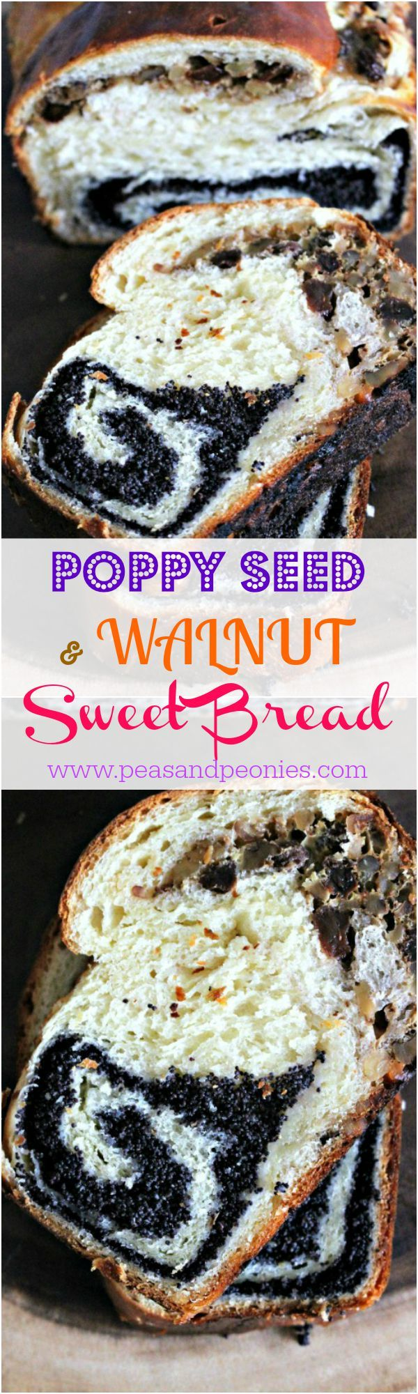 Poppy Seed and Walnut Roll Bread - Peas and Peonies