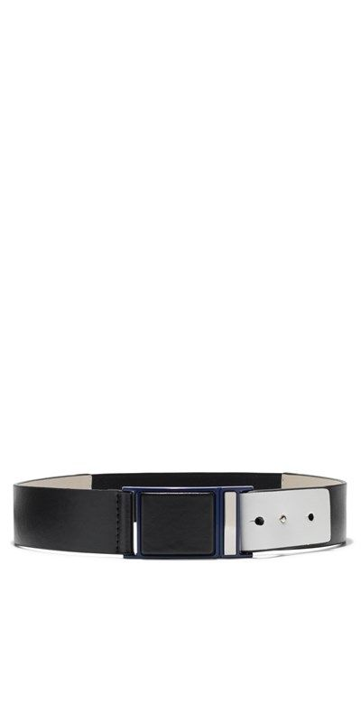This leather waist belt is detailed with an off white fold back panel fastening, blue and silver nickel hardware and an elastic back panel. Designed exclusively for Cue by Peter Lang. Made in China.