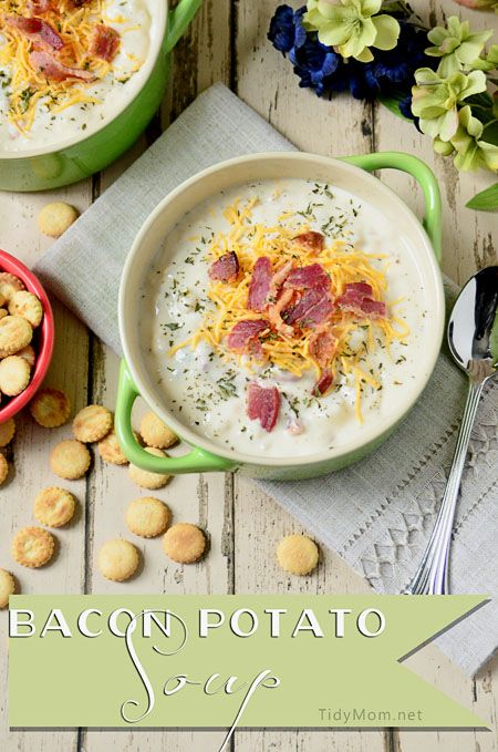 bacon potato soupCreamy Bacon, Yummy Food, Baking Potatoes Soup, Cream Cheese, Creamy Potatoes Bacon Soup, Creamy Potatoes And Bacon Soup, Potato Soup, Soup Recipes, Bacon Potatoes Soup