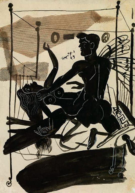 Τσαρούχης Γιάννης-Κρύο, καιρός για δύο, 1949 1 – Yannis Tsarouchis [1910-1989]   paletaart – Χρώμα & Φώς