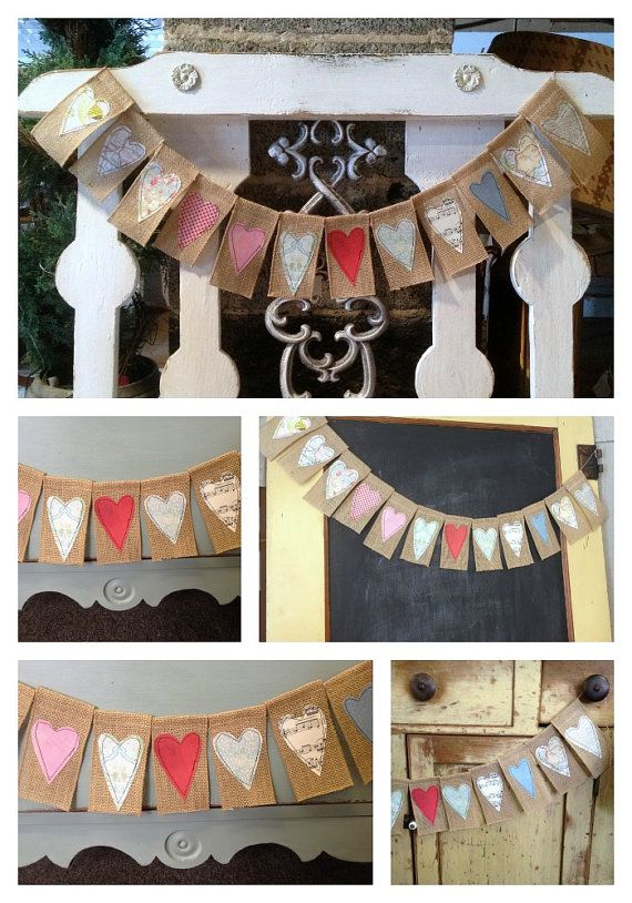 Burlap Heart Banner by QuiltedCupcake