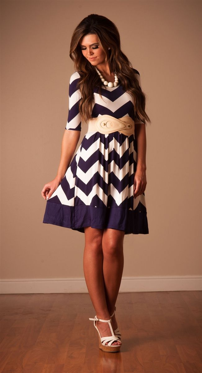 Navy White Chevron Modest Dress | Affordable Modest Boutique Clothes for Women | Trendy Modest Church Dresses for Women