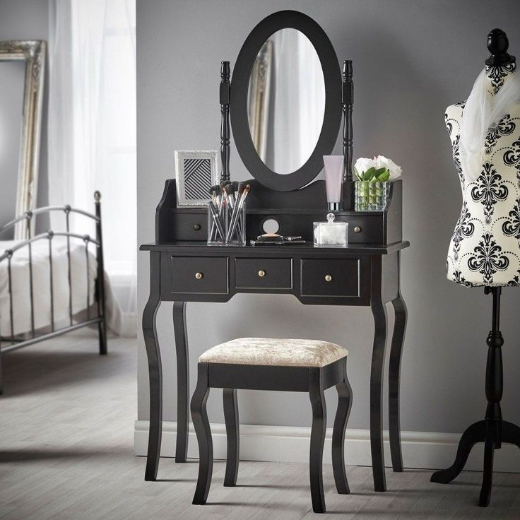 Vintage Vanity Dressing Table With Mirror Stool Cabinet Jewelry Drawer Furniture