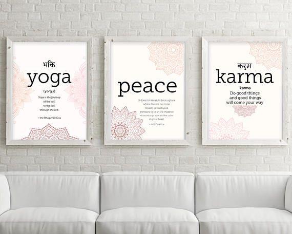 Yoga Prints, Yoga Art, Yoga Poster, Set of 3 Prints, Yoga Studio Decor, Mandala Art, Zen Art, Boho Art, Downloadable Prints, Printable Art