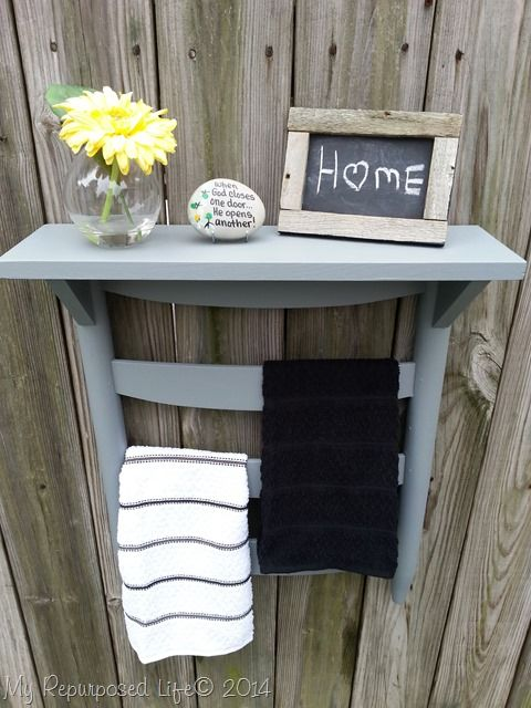 How to make a chair back towel rack shelf out of an old rocking chair and some scrap wood. You can use any old chair to make a towel rack.