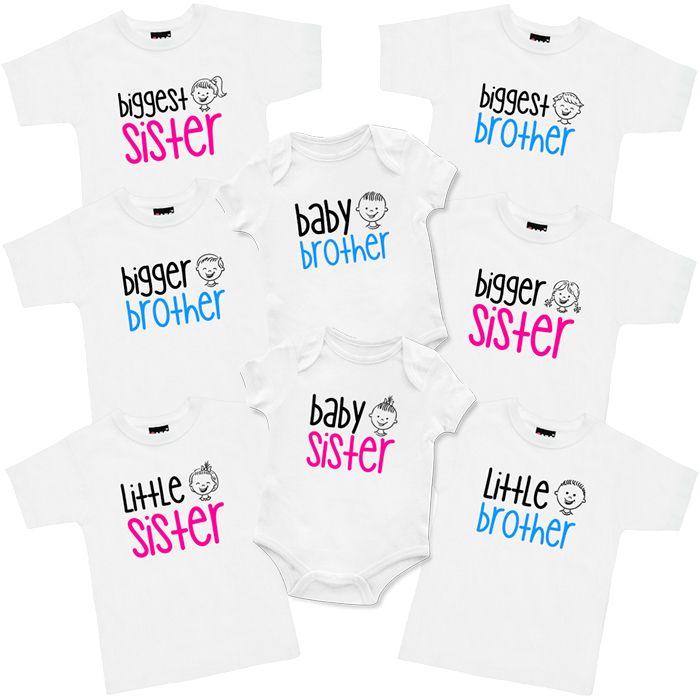 Biggest, Bigger, Little, Baby T Shirt & Onesie Set (3 piece)
