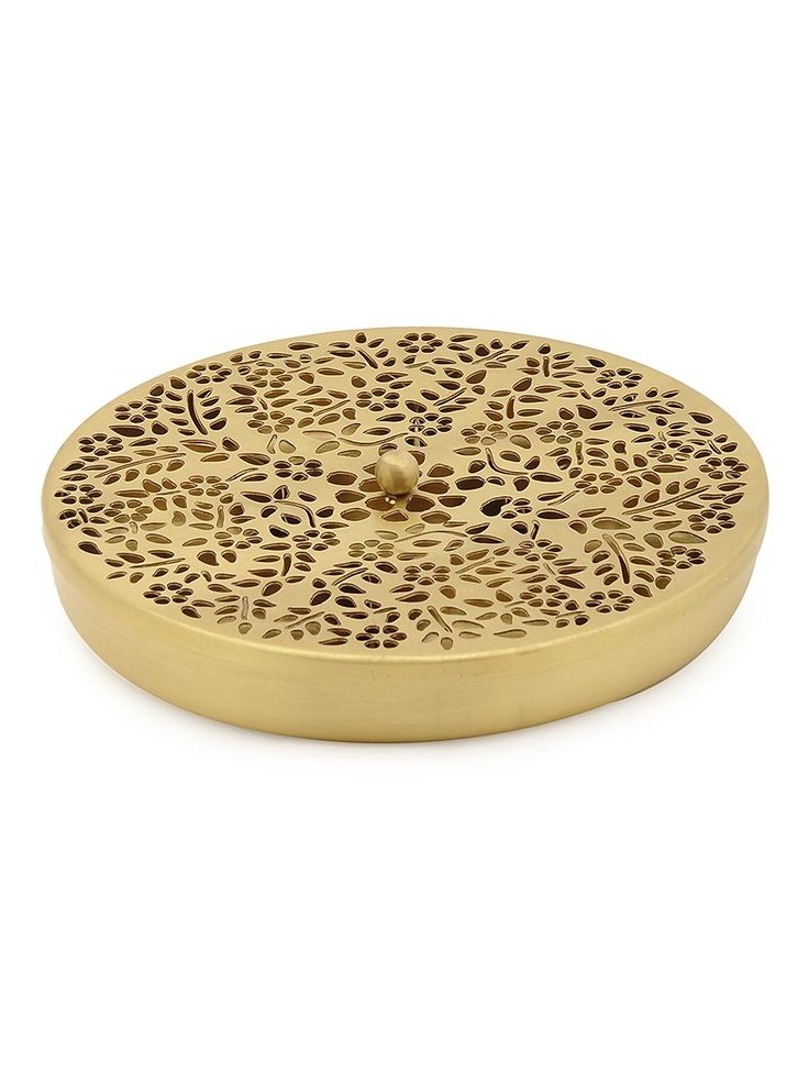 Buy Golden Floral Mughal Jali Brass Spice Box with Bowl (Set of 8) Kitchen Kitchenware Online at Jaypore.com