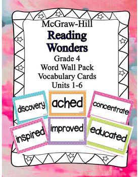 McGraw Hill Wonders Vocabulary Words Unit 1-6 BUNDLE (ENTIRE YEAR) 4th grade