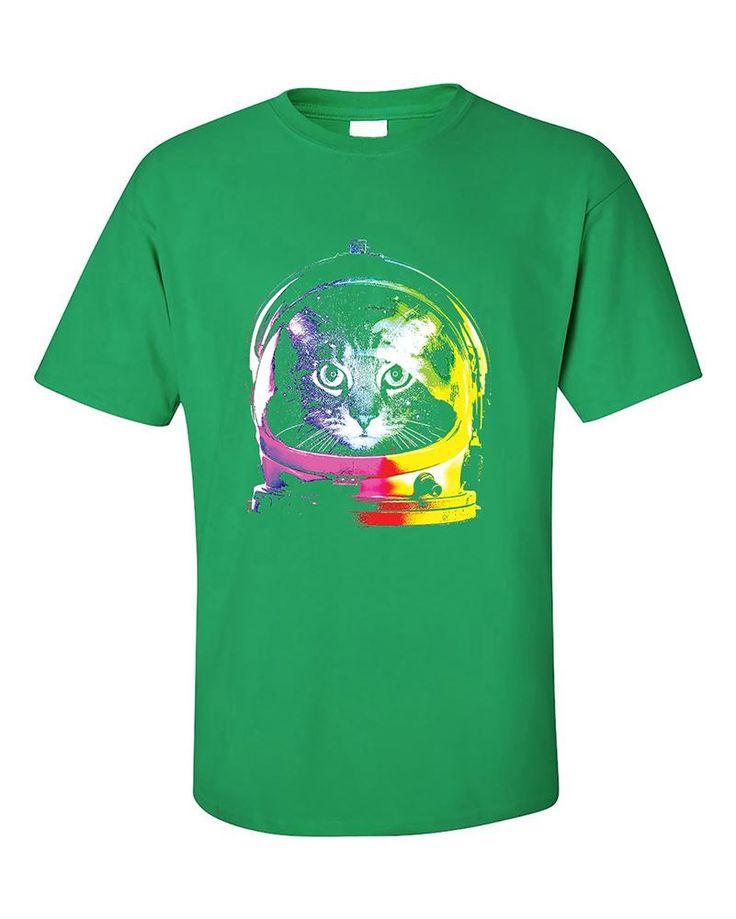 Space Cat astronaut rainbow helmet Nasa USA T-Shirt