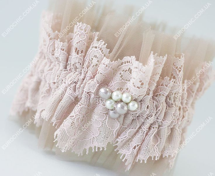 Подвязка невесты Rose cappuccino розово-бежевая