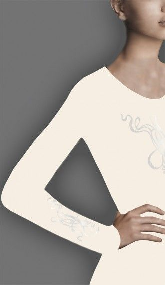 Metallic Pearl Spaghetti Ivory long sleeve tee