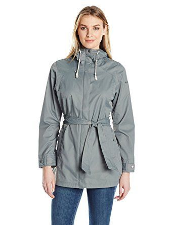 Columbia Women's Rain Jacket in a Trench Coat style. This sleek trench-coat-style rain jacket features a lightweight, waterproof nylon construction in a flattering longer cut with a tie-adjustable waist for a versatile look and fit. #RaincoatsForWomenLongSleeve