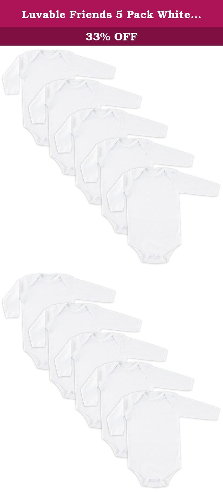 Luvable Friends 5 Pack White Long Sleeve Bodysuit. Luvable Friends 5-Pack Long Sleeve Bodysuits are made of 100% cotton for the softest touch on your baby's gentle skin. Bodysuits are essential to any baby's wardrobe, and these bodysuits are so comfortable that they can be used as underwear or even on their own. Long sleeves keeps baby warm in the cooloer months and make the perfect layering pair.