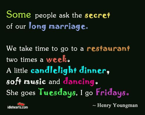 I love old Henny Youngman jokes... this is a good one.