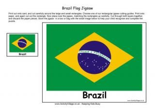 Brazil Printable Flag Puzzle