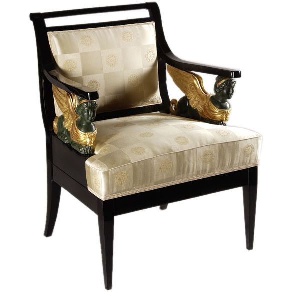 A Regal Austrian Empire Armchair | From a unique collection of antique and modern armchairs at http://www.1stdibs.com/furniture/seating/armchairs/