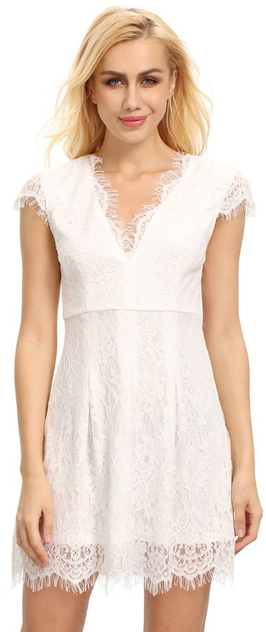 Shein Cream Cap Sleeve Lace Dress