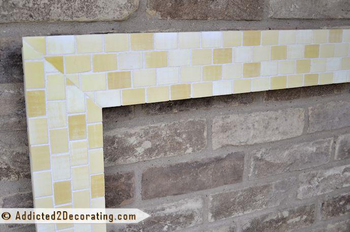 Bathroom Makeover Day 14:  DIY Mosaic Wood Tile Mirror Frame – Finished!