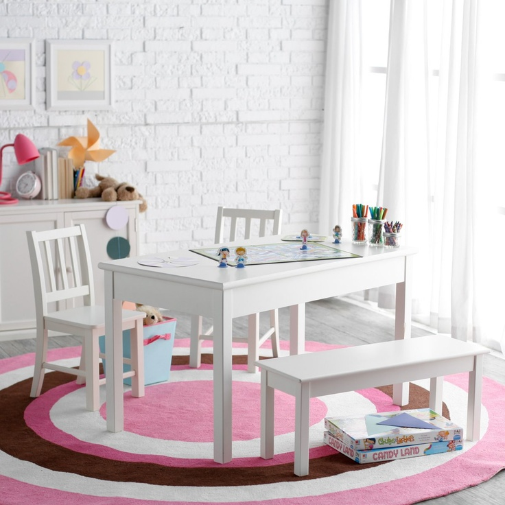 Classic Playtime Rectangle Table And Chair Set   Vanilla   Childrens Table  And Chair Sets At