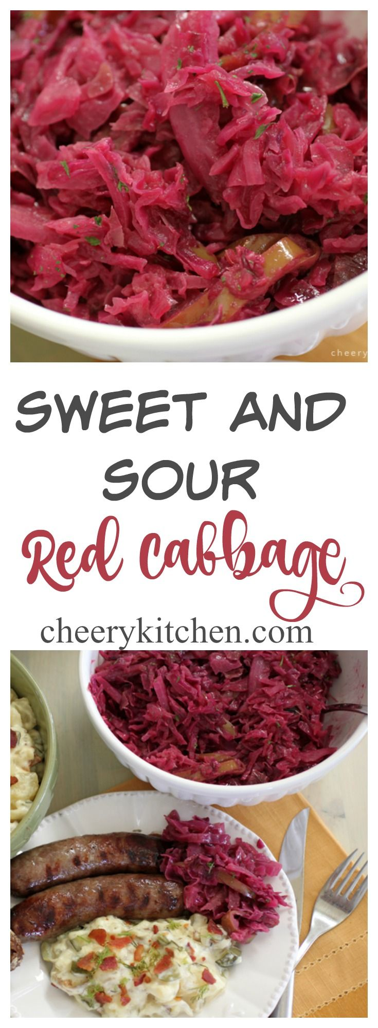 Bring a taste of Oktoberfest to your dinner table tonight with my Sweet and Sour Red Cabbage.  Made with a trio of apples, red wine and my secret ingredient to spice up this beautiful sweet-tart Germanic dish.