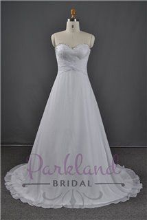 A beautiful sweetheart neckline gown with a lace insert bodice. Beautifully beaded with a beaded edge neckline. Features a lovely chiffon skirt with a pleated sash at the back which showcases the lace bodice on the back. An absolutely gorgeous gown at a very affordable price.