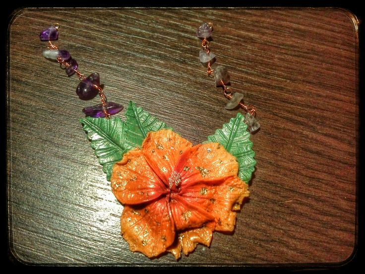 handmade polymer clay realistic hibiscus flower orange/green leaves/copper wire gemstone chain/amethyst stone/mini beads/6 petals/shimmer/gold leaf/purple