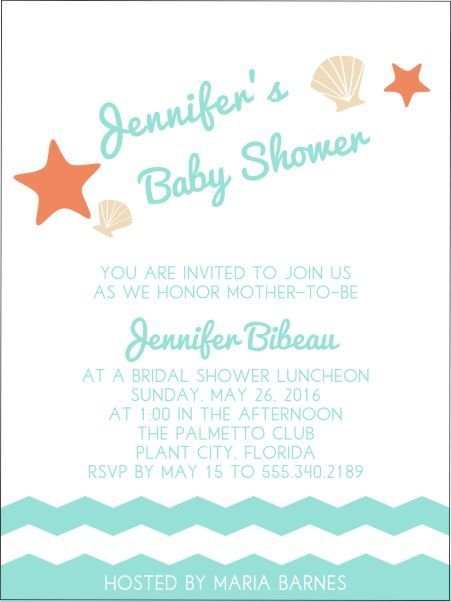 Chevron Waves Baby Shower Invitations For A Beach Or Nautical Baby Shower.    Beach Front