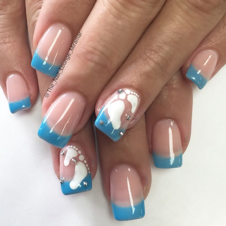 Baby boy gender reveal nail art design