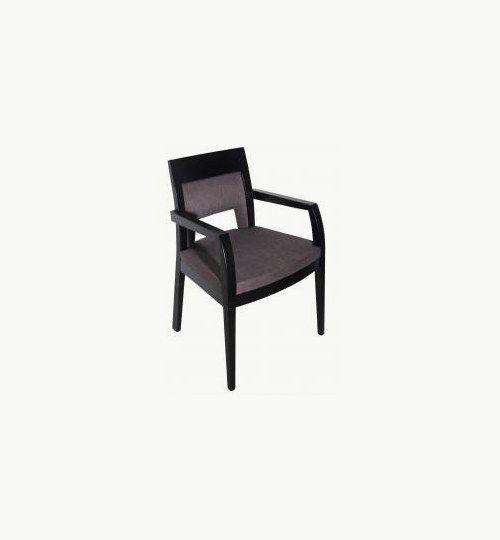 Karmstol med stoppad sits och rygg, många tyger samt träbets att välja på. Ingår i en serie med en vanlig stol. Vikt 8,7 kg. Säljs i 2pack (2st). Pris anges (1st). Levereras monterad.  Tyg Lido, 100 % polyester, brandklassad. Tyg Luxury, 100 % polyester, brandklassad. Konstläder Pisa, brandklassad, 88,5% PVC, 11,5% polyester.