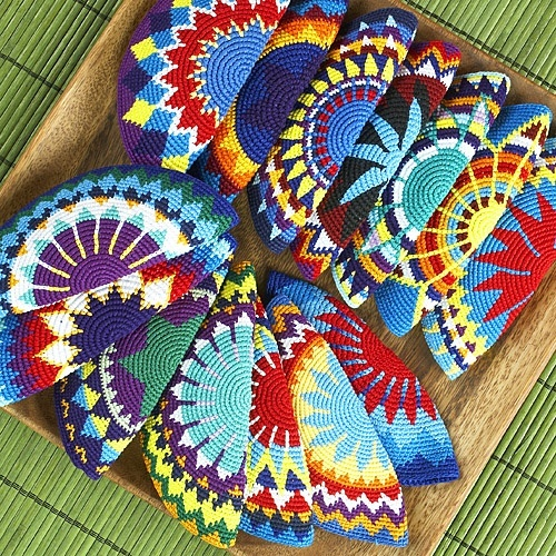 Kippot crafted by Maya women. The sales benefit their villages (via mayaworks.org)
