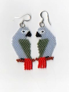African Grey Parrot Earrings by NativeWorks on Etsy, $20.00