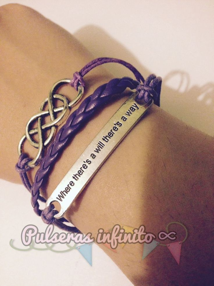"Pulsera Infinito Doble Y Placa ""where There's A Will ...""Pulsera Regalo Mujer 