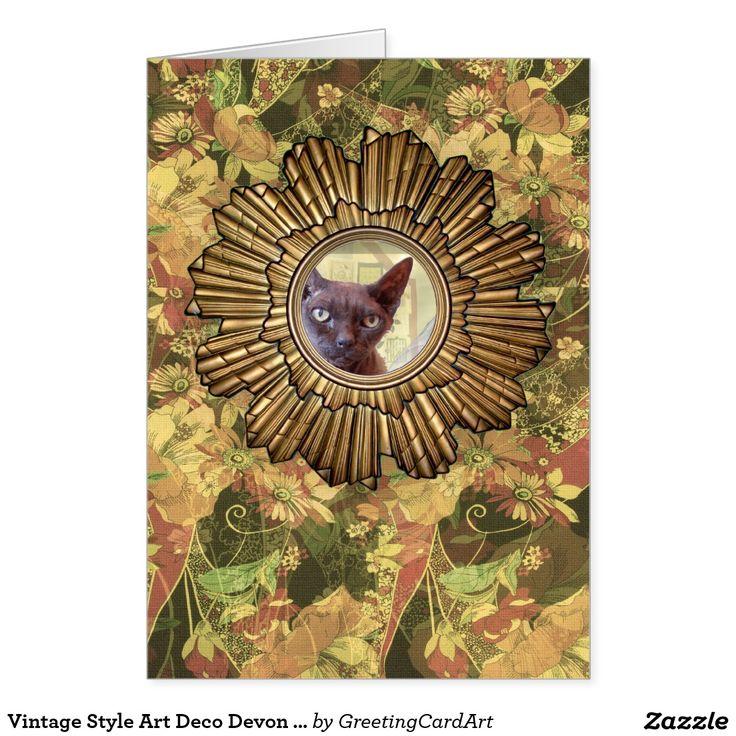 Vintage Style Art Deco Devon Rex Cat Greeting Card
