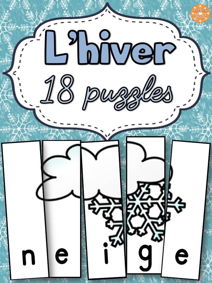 L'hiver - 18 puzzles sur le vocabulaire de l'hiver. Exemples de mots inclus: neige, manteau, traîneau, tuque etc. Ce jeu de casse-tête est amusant et parfait pour les centres de littératie !