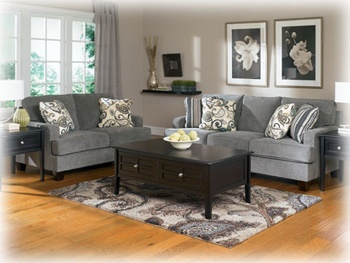 Yvette (Steel) set: sofa and loveseat, wait til you see the accent chairs.