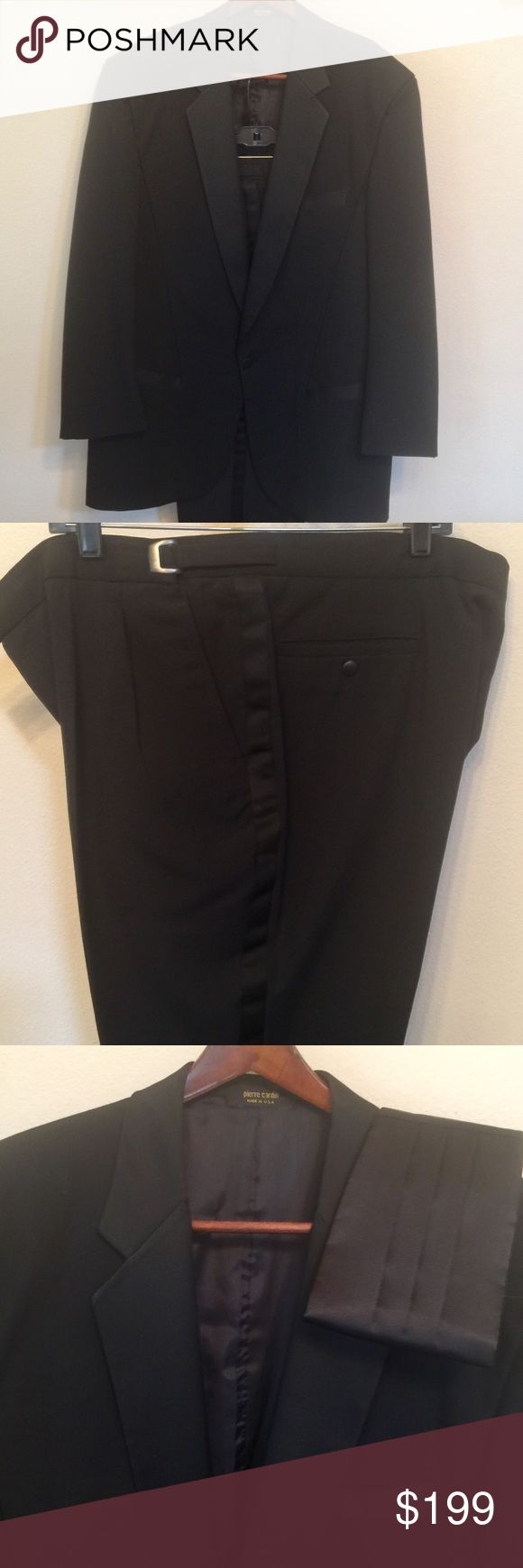 MENS 46XL PIERRE CARDIN TUXEDO, NEARLY NEW ✅✅FLAWLESS PIERRE CARDIN MENS 46XL BLACK TUXEDO‼️ Purchased at Paula's Bridal Boutique Includes Cumber bun, 40R Tuxedo Pants (adjustable)‼️ ABSOLUTELY, FLAWLESS, VERY HANDSOME TUXEDO! Don't buy or rent! Dry clean and OWN YOUR OWN TUXEDO! ❌⭕️❌ Pierre Cardin Suits & Blazers Tuxedos