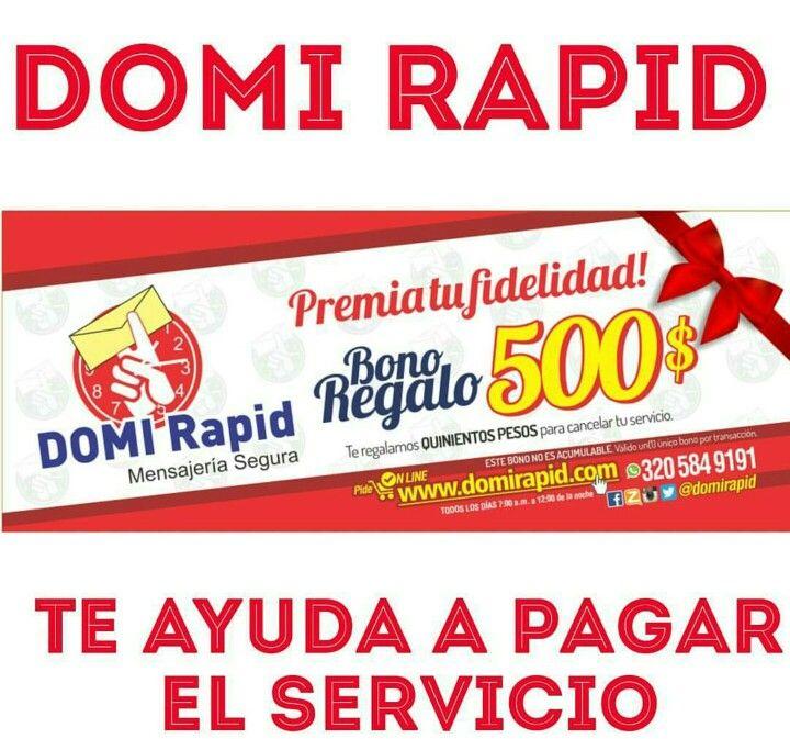 Por ser nuestro cliente especial te entregamos BONOS DE REGALO para que los uses al pagar tu servicio Domi Rápid. *Aplican condiciones y resticciones. @Domirapid Valledupar. Gracias por elegirnos!!! 3205849191