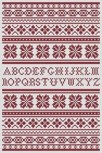 Design: Alphabet Band Sampler (£3.50) Size: 90w x 137h Designer: Kell Smurthwaite, Kincavel Krosses PDF cross stitch chart featuring a traditional alphabet band sampler, which is charted for the traditional red, but can be stitched in any colour.